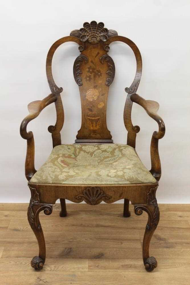 George I style walnut and inlaid crook arm elbow chair - Image 2 of 9