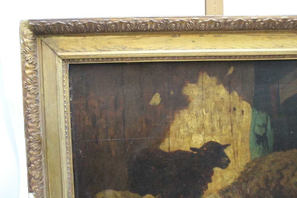 Louis Marie Dominique Robbe (1806-1887) oil on panel - sheep in a barn, signed, 41cm x 56cm, in gilt - Image 8 of 9