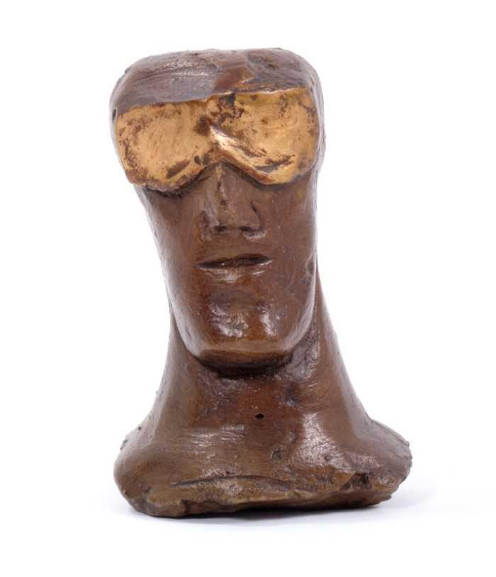 *Dame Elisabeth Frink (1930-1993) Rook bronze chess piece 'Goggled Heads' 1967/9