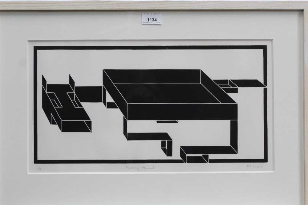 Ron Sims (1944-2014) signed limited edition linocut - Fleeing Animal, 1/50, dated '11, 25.5cm x 47.5