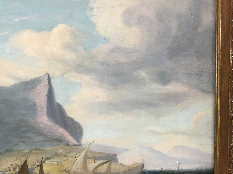 John Lynn (act.1826-1869) oil on canvas - British Frigate off Gibraltar, circa 1835, 49cm x 60cm, in - Image 9 of 15