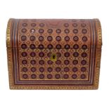 Fine quality late 19th century embossed leather stationery box by Asprey, of domed form, the hinged