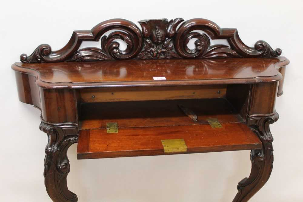 Victorian mahogany console/hall table with carved and pierced back and shaped frieze drawer on scrol - Image 3 of 4