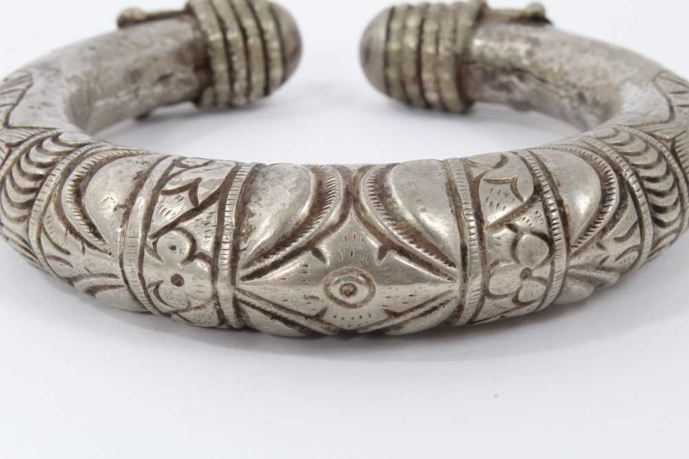 North African silver torque, decorated with fish and geometric motifs, 10cm wide - Image 4 of 6