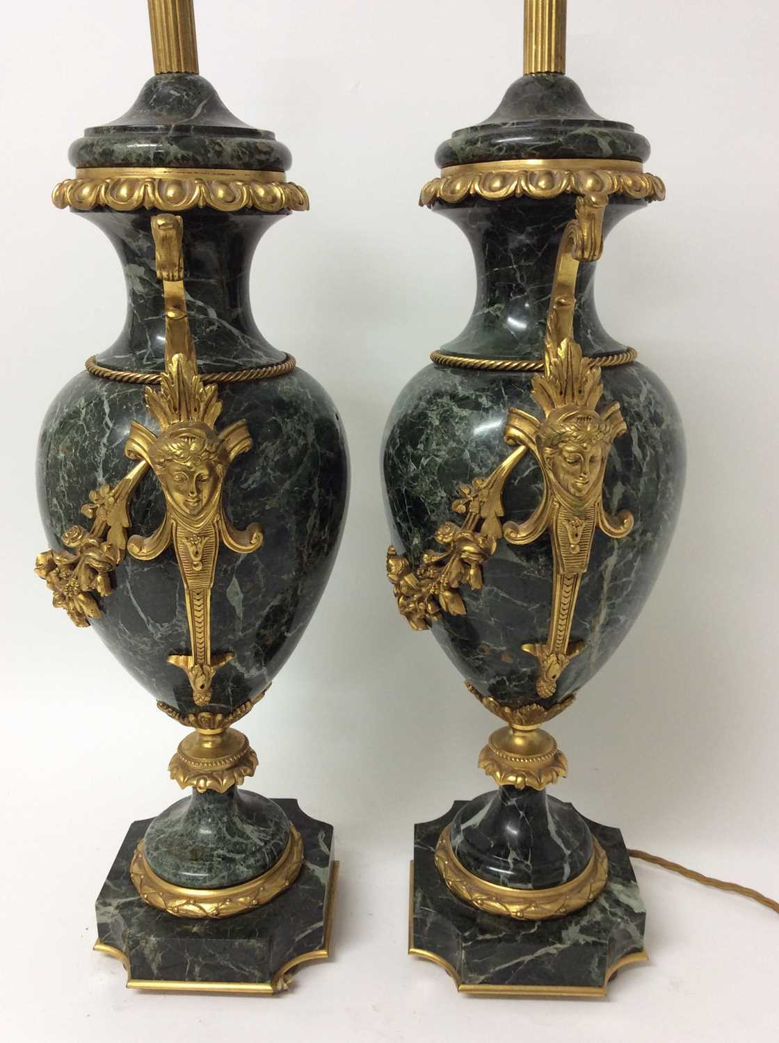 Pair of 18th century style gilt metal mounted verde antico marble table lamps, each of urn form with - Image 4 of 7