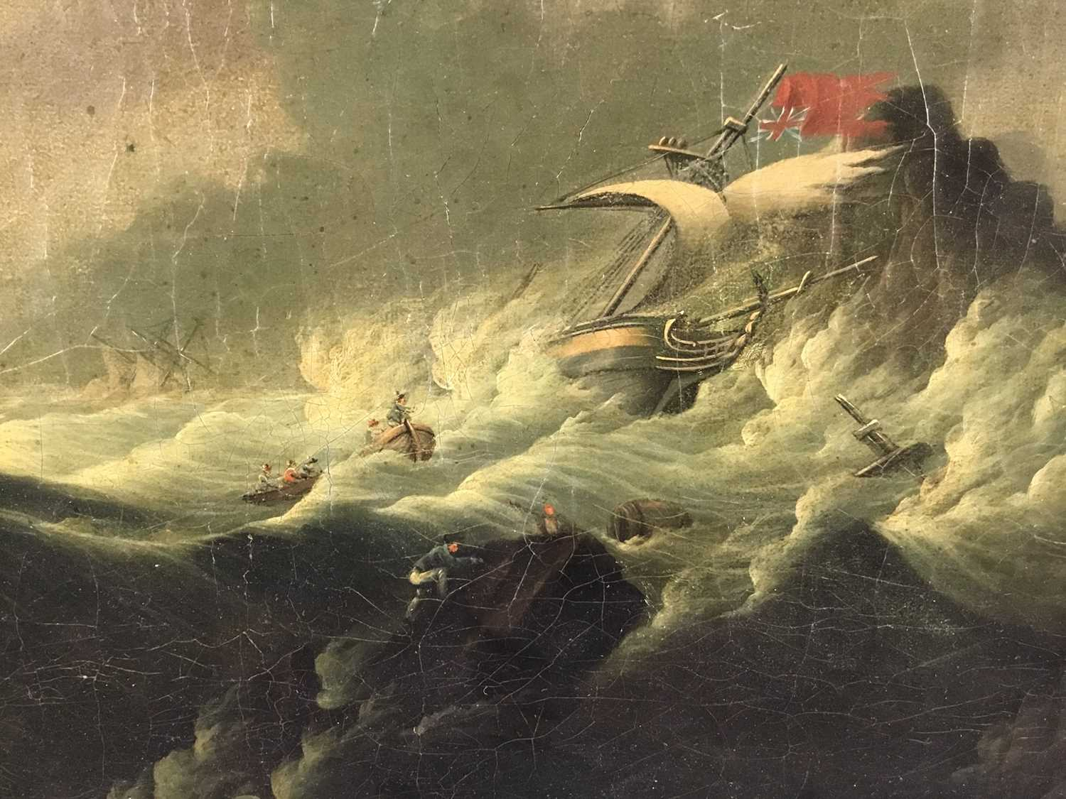 Attributed to Joseph Vernet (1714-1789) oil on canvas - shipping crashing against the rocks, 55cm x - Image 10 of 12