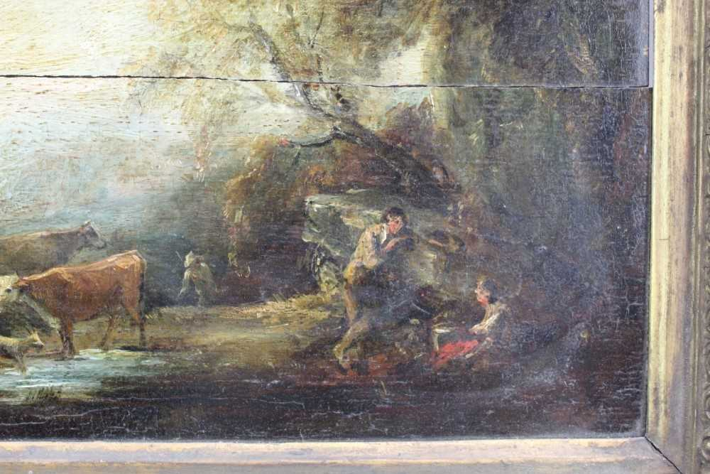Manner of Thomas Gainsborough oil on panel - cattle and herders in landscape, in gilt frame - Image 6 of 15