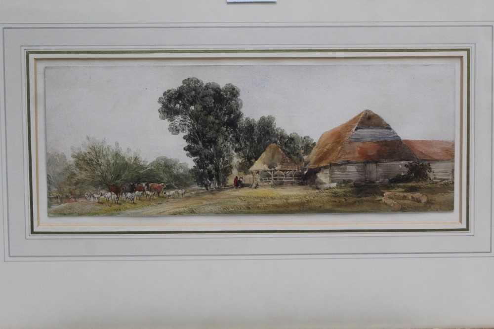 Edward Duncan (1803-1882) watercolour- Landscape with cattle