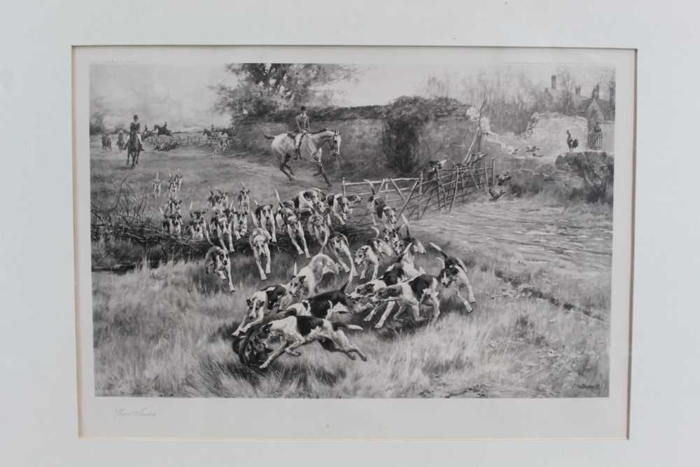 Thomas Blinks (1860-1912) three signed photogravures - Hunting Scenes, 40cm x 57cm, in glazed frames - Image 11 of 15