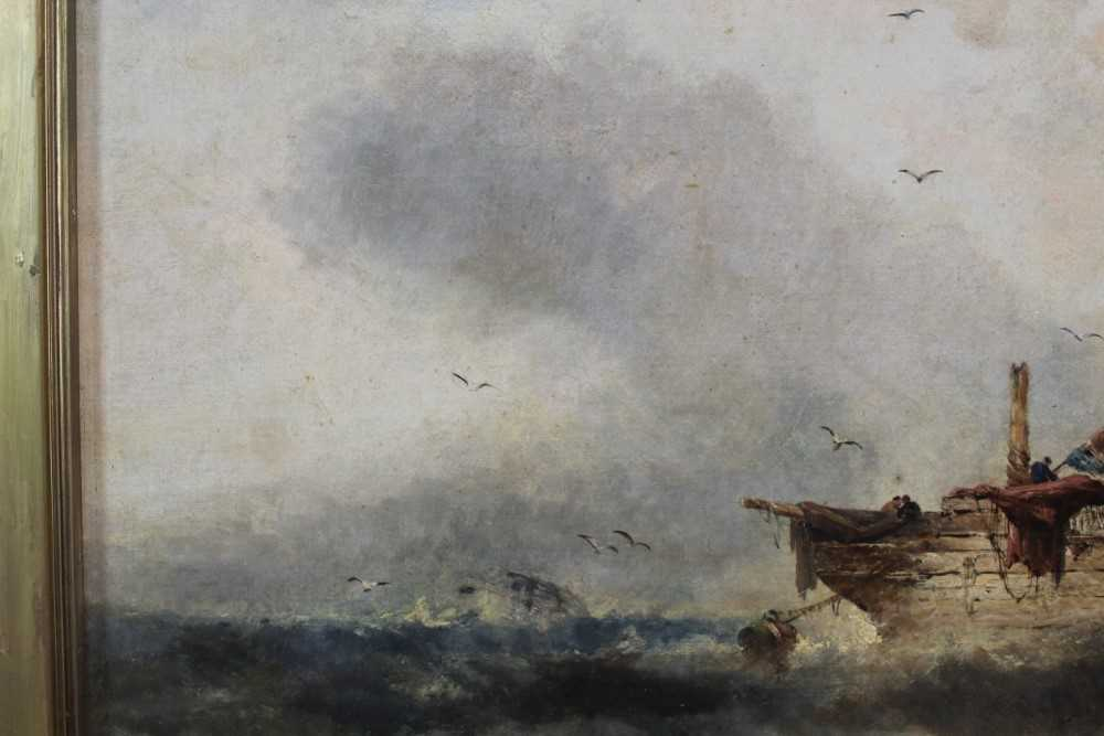 Manner of William Henry Williamson oil on canvas - shipping off the coast, in gilt frame - Image 6 of 27