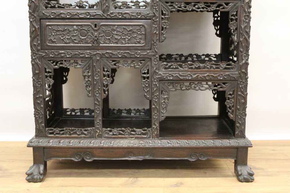Late 19th century Chinese carved rosewood display cabinet - Image 4 of 13