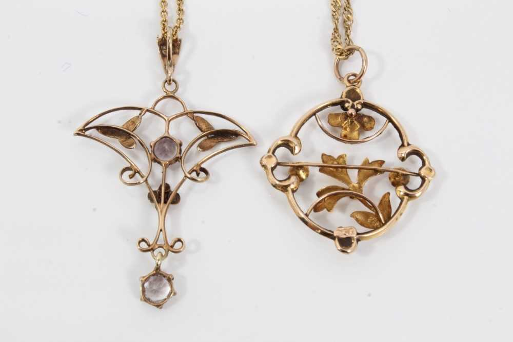 Two Edwardian gold and gem set pendants with openwork floral plaques on chains - Image 3 of 4