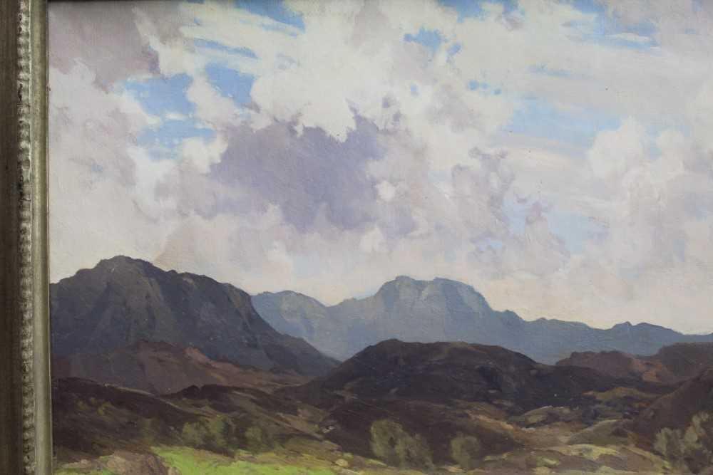 Lewis Taylor Gibb (1873-1945) oil on canvas - Extensive Scottish Landscape, signed, 63cm x 76cm, in - Image 8 of 14
