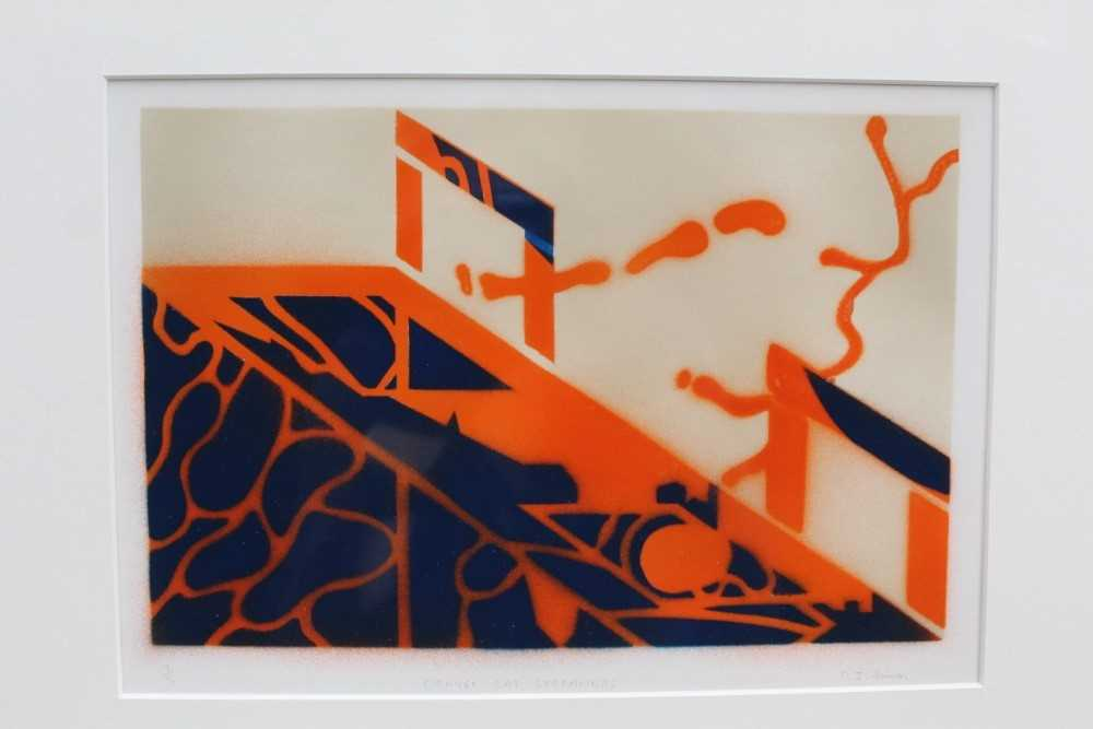 Ron Sims (1944-2014) signed limited edition stencil / enamel print - Orange Cat Streamers, 1/50, 20c