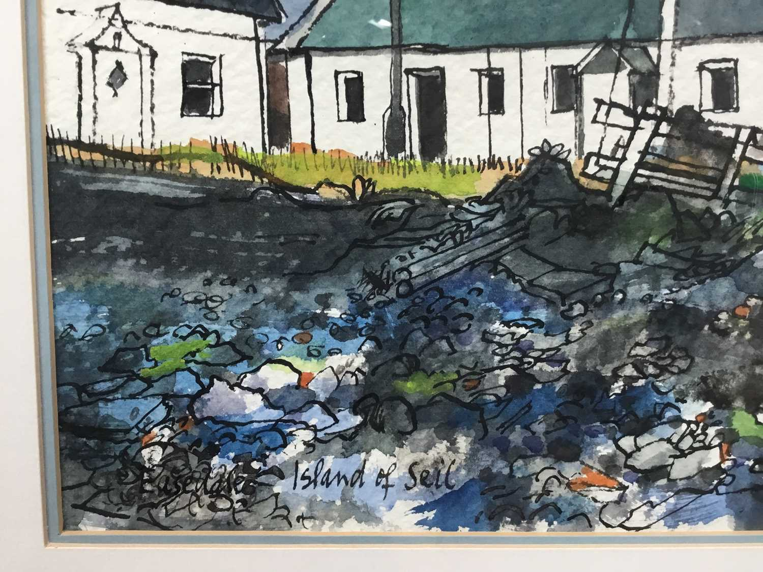 *Rigby Graham (1931-2015) pen and ink and watercolour, Ellenabeich, signed and dated 15. viii. 00. - Image 3 of 8