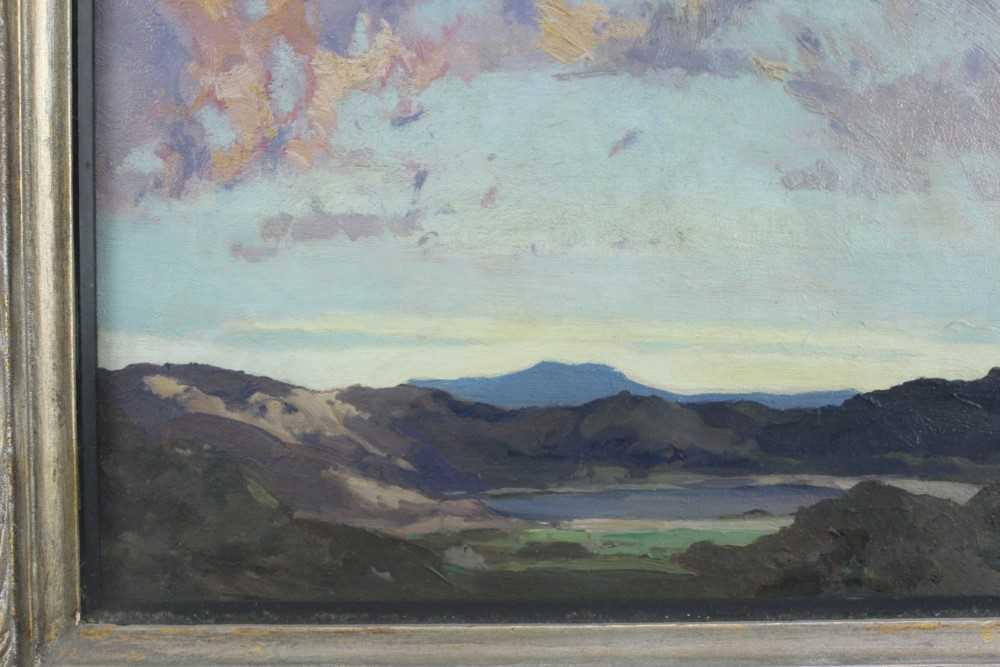 Lewis Taylor Gibb (1873-1945) oil on canvas - Extensive Landscape, 29cm x 33cm, in glazed gilt frame - Image 3 of 8