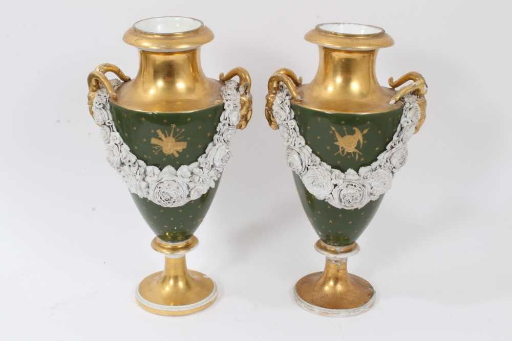 Pair of Paris porcelain vases, 19th century, decorated with swags of encrusted flowers on a green an - Image 3 of 11
