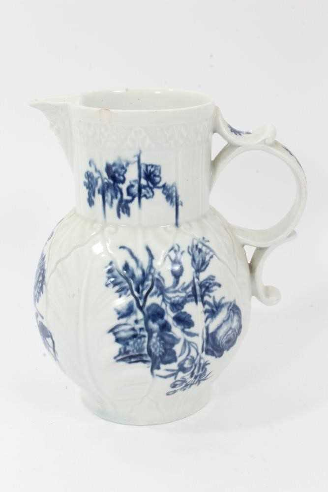 Worcester cabbage leaf moulded mask jug, circa 1770, decorated with flowers, 20cm high
