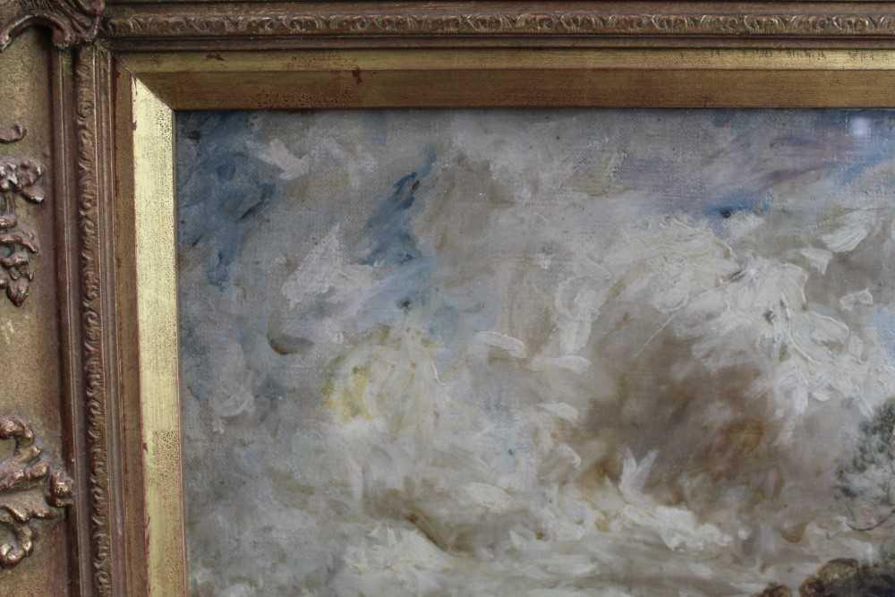 Manner of John Constable, oil on canvas laid on board - Extensive Landscape, in glazed gilt frame - Image 4 of 7