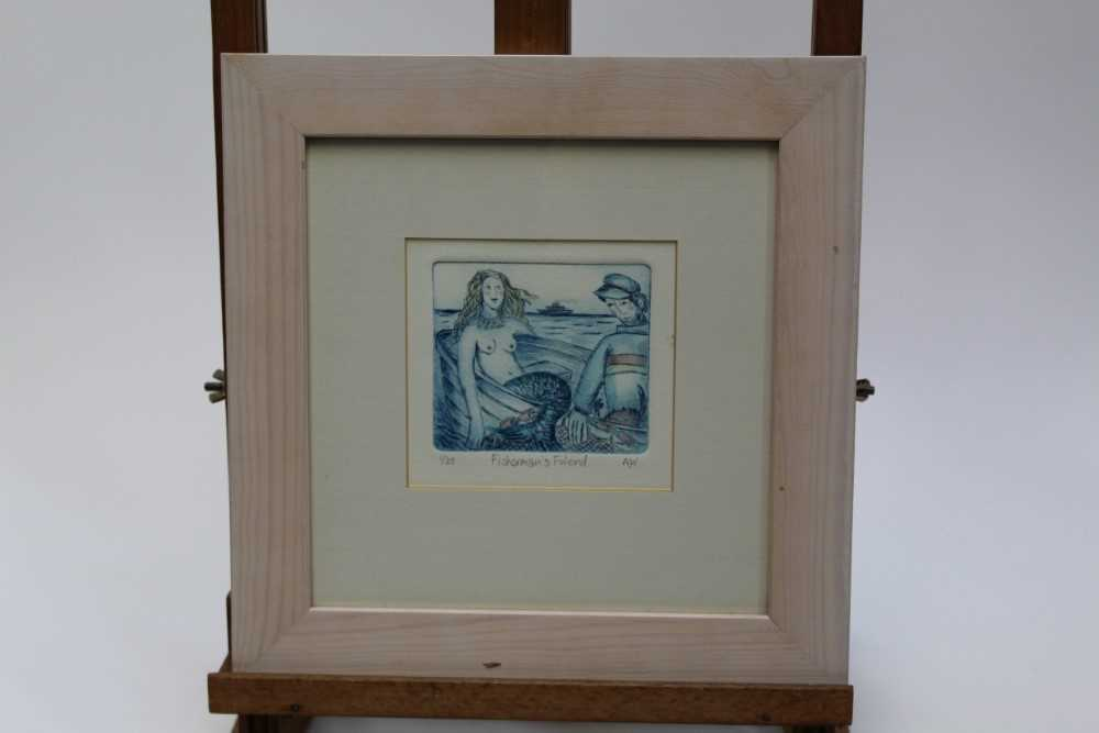 Group of contemporary signed etching etchings, prints and other works, mostly East Anglian artists t - Image 40 of 42