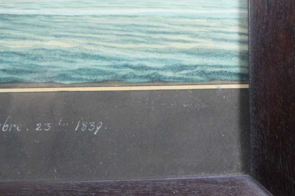 Mid 19th century ink and watercolour - 'Brigantine Emma - William Thomas master, Entering Smyrna Bay - Image 6 of 8