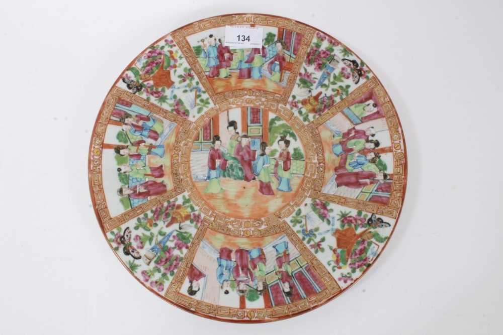 19th century Chinese Canton porcelain dish, decorated with panels of figures, birds, flowers and but