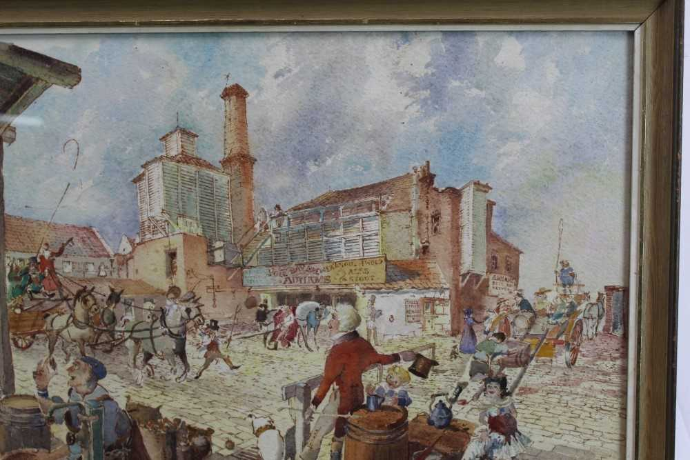 Peter Proud, watercolour - Adnams Brewery, Southwold, signed and dated '70, in glazed frame - Image 4 of 7