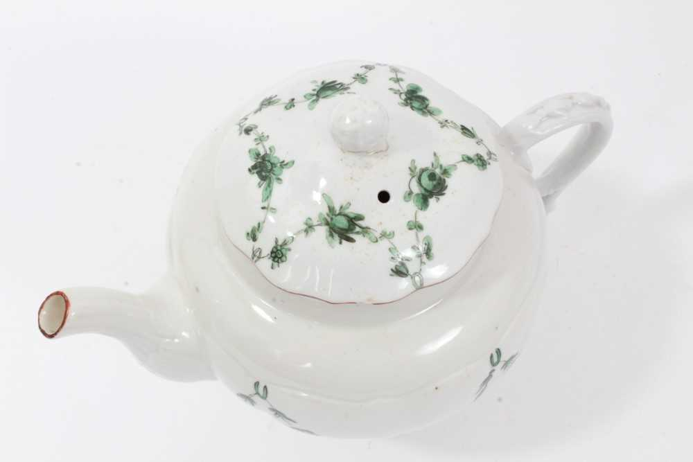 Bristol ogee shaped teapot and cover, circa 1772, with green-painted swags of flowers, the spout and - Image 4 of 9