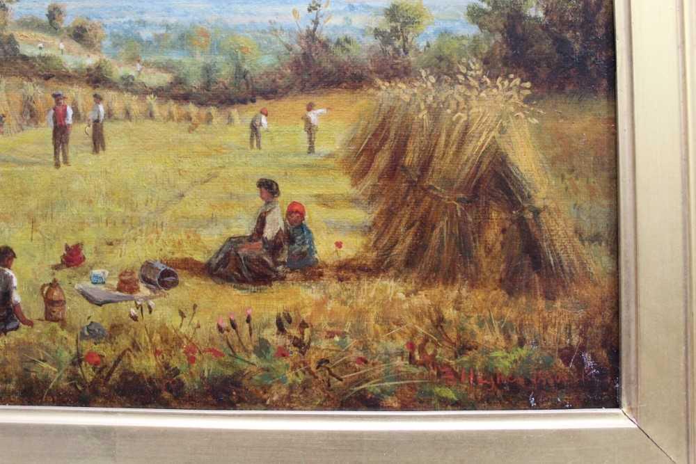 J Hughes - late 19th century oil on canvas in original gilt frame - Sunny Cornfield. 29cm x 44.5cm - Image 3 of 11
