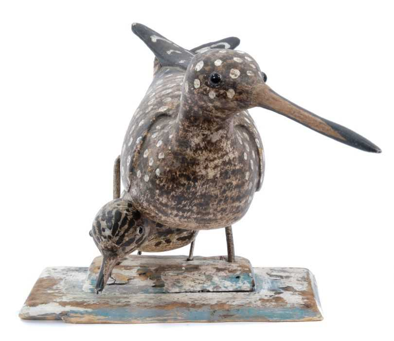 *Stephen Henderson (b. 1956), wooden sculpture - Sandpiper with Chick - Image 2 of 4