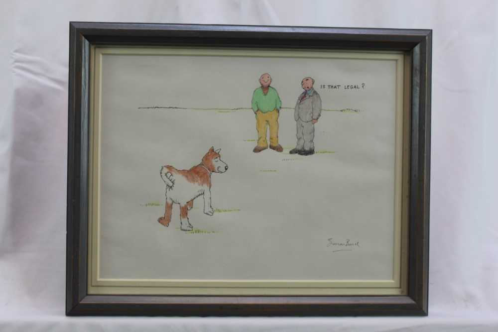 """Simon Bond (1947-2011) pen, ink and crayon cartoon - """"Is That Legal?"""", signed, in glazed frame Pro"""