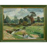 Adrian Chorley, oil on board, figures at Nayland