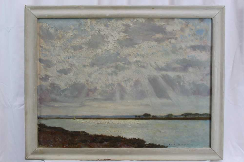 Fid Harnack oil on board, Strood Channel, signed and inscribed verso