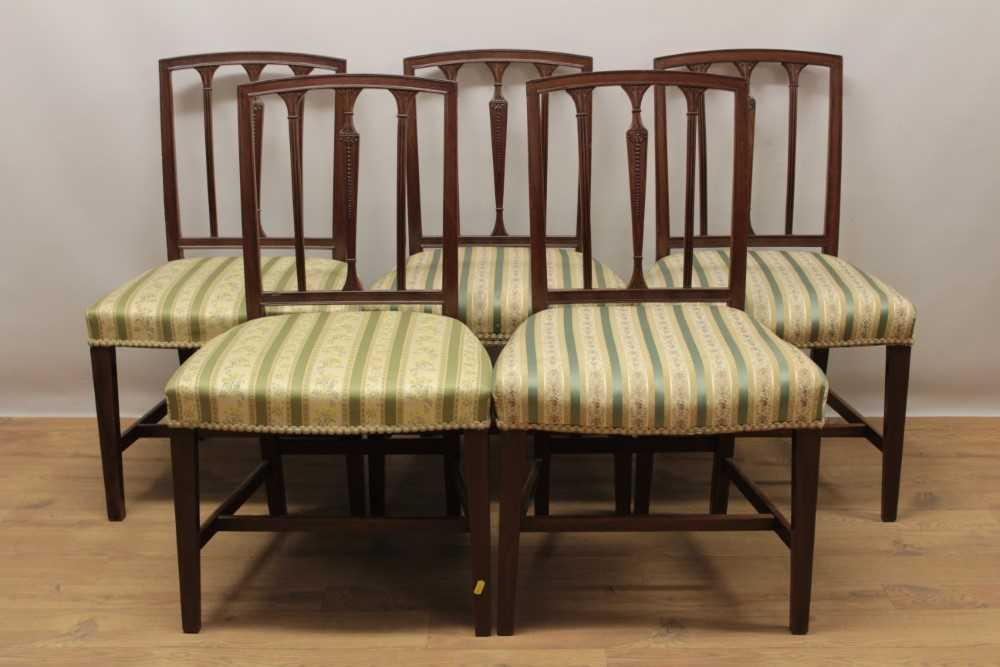 Set of eleven George III style mahogany dining chairs, each with vertical bar back and striped uphol - Image 4 of 4