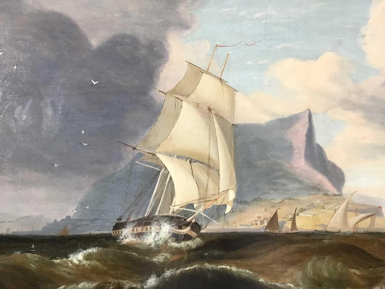 John Lynn (act.1826-1869) oil on canvas - British Frigate off Gibraltar, circa 1835, 49cm x 60cm, in - Image 4 of 15