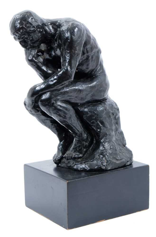 After Rodin, bronzed composition sculpture - The Thinker