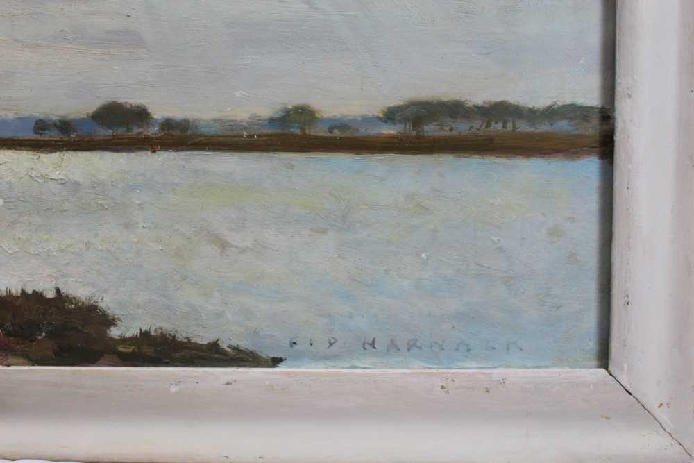 Fid Harnack oil on board, Strood Channel, signed and inscribed verso - Image 2 of 6