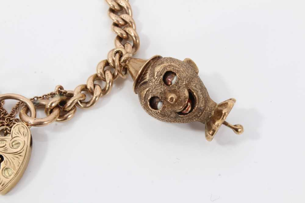 9ct gold charm bracelet with eight 9ct gold charms and padlock clasp, - Image 3 of 5