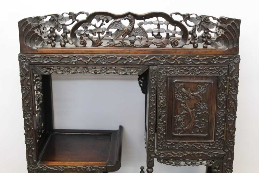 Late 19th century Chinese carved rosewood display cabinet - Image 2 of 13