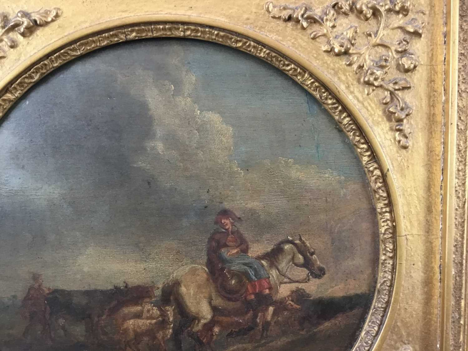 17th/18th century Dutch School oil on panel, tondo - Going to Market, inscribed verso Camphuysen, in - Image 5 of 11