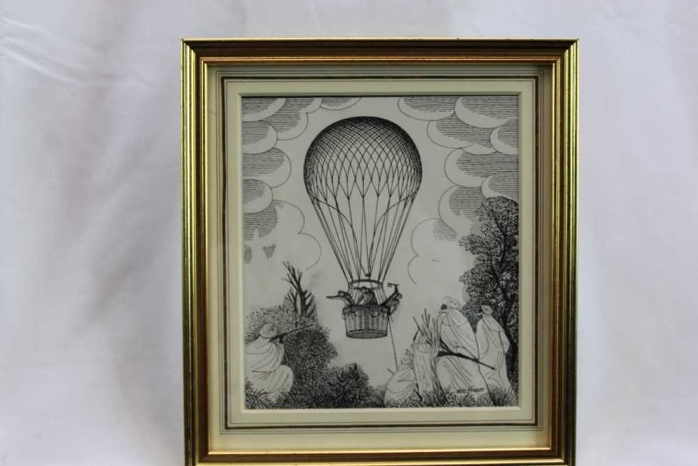 Eric Fraser (1902-1983) pen and ink on board - Five Weeks in a Balloon, signed, in glazed gilt frame
