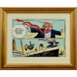 Peter Brookes (b.1943) pen, ink and watercolour cartoon - 'This Is A Finely-Tuned Machine, Folks!',
