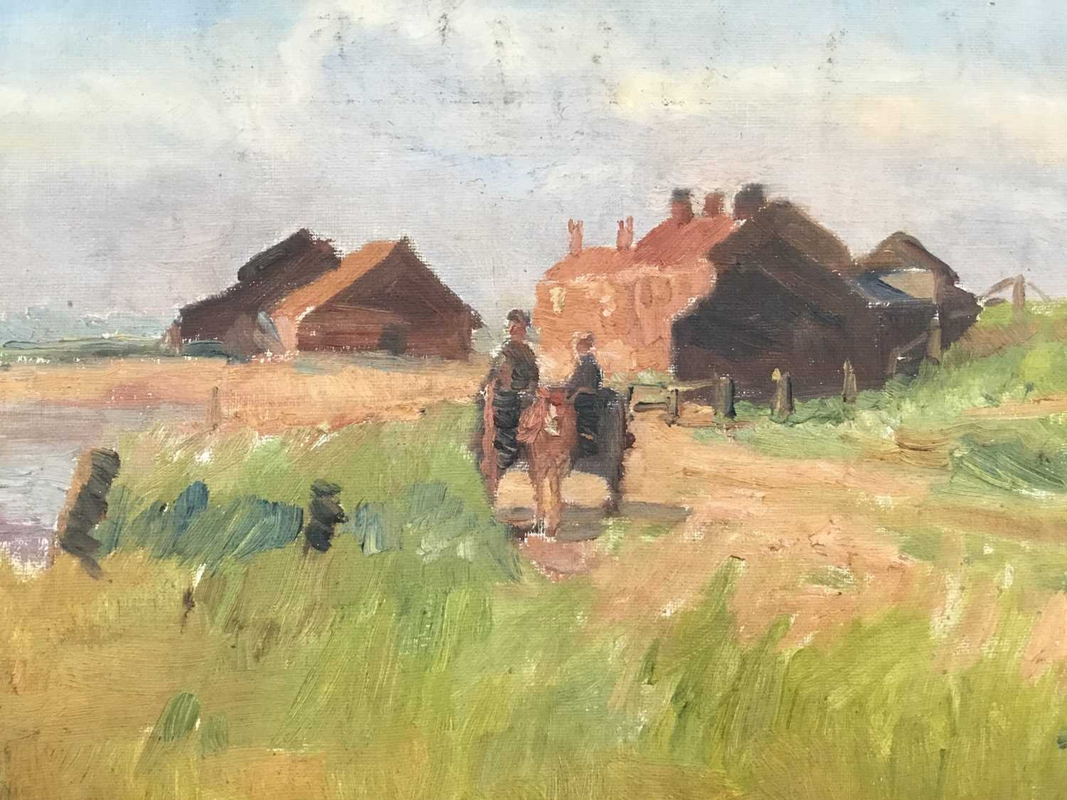 Robert G. D. Alexander (1875-1945) oil on canvas laid on board - Kirby Quay, Essex, with Carters Mil - Image 3 of 9