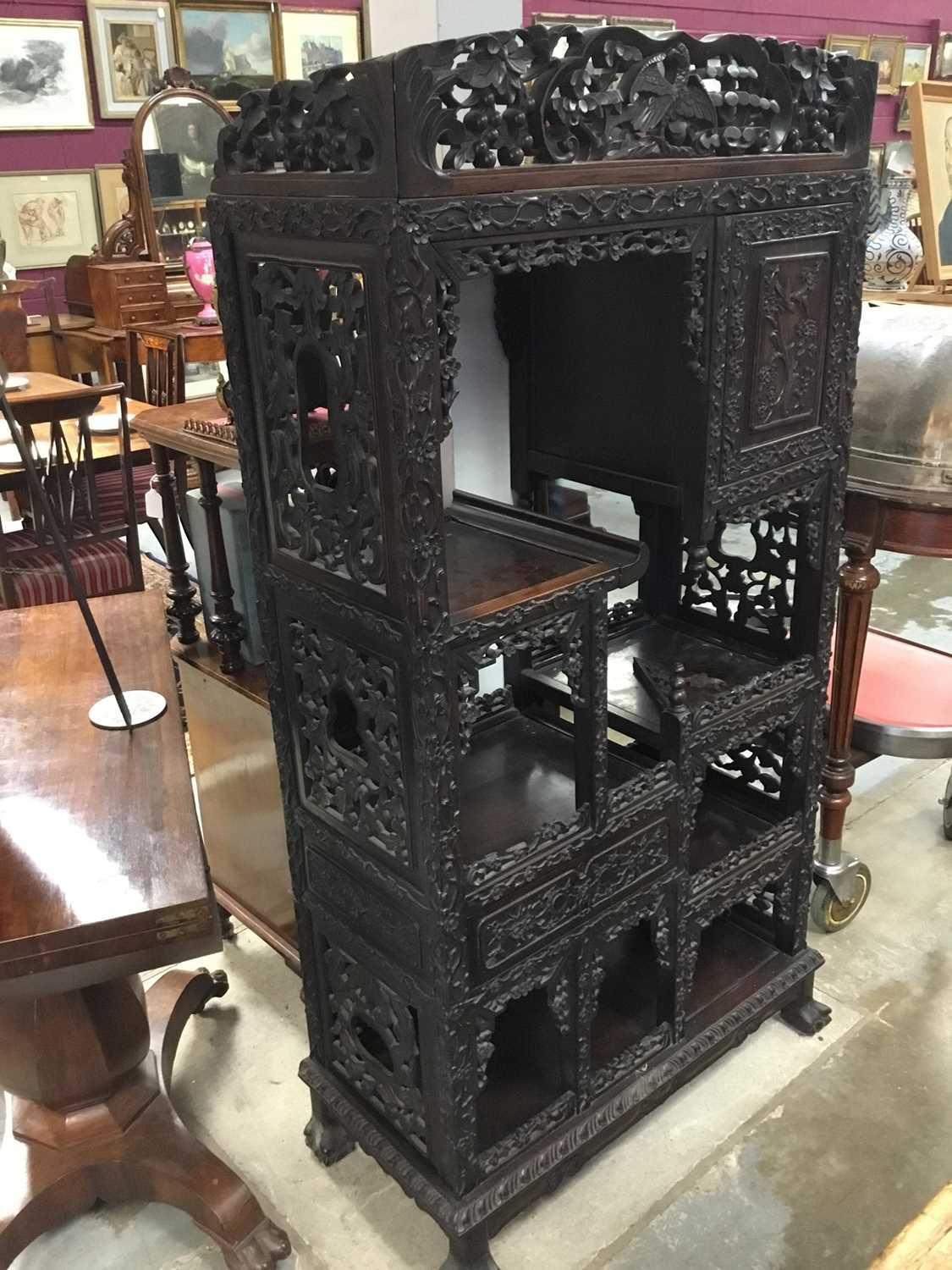 Late 19th century Chinese carved rosewood display cabinet - Image 13 of 13