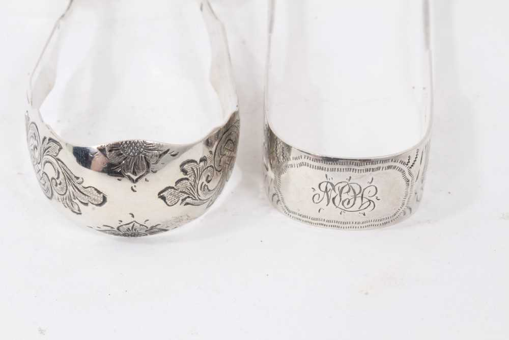 11 Victorian silver Old English Shell pattern teaspoons (London 1893) and two pairs sugar tongs - Image 7 of 7