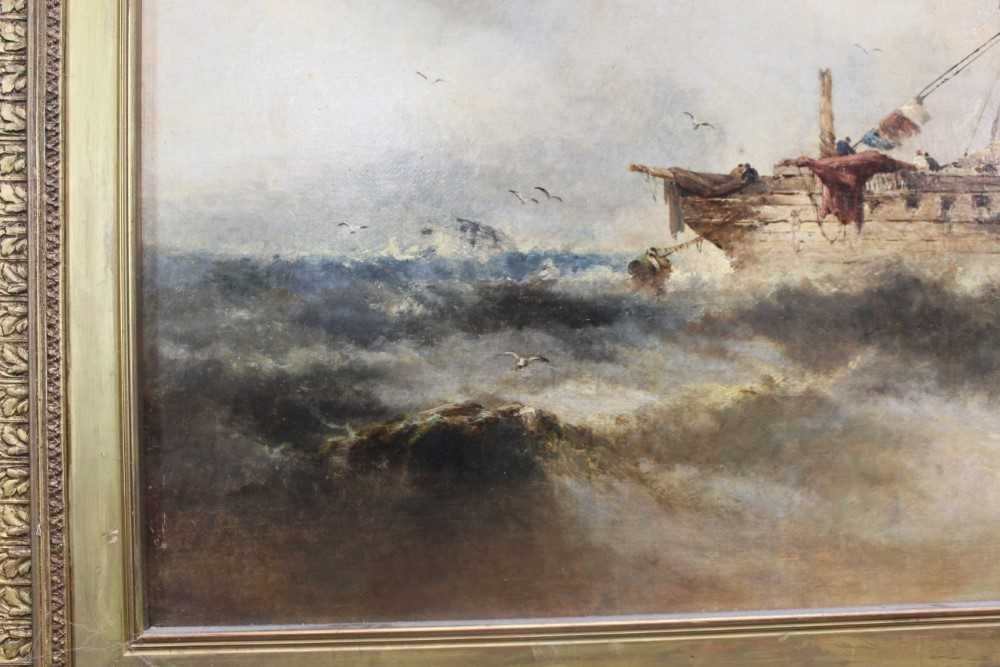 Manner of William Henry Williamson oil on canvas - shipping off the coast, in gilt frame - Image 4 of 27