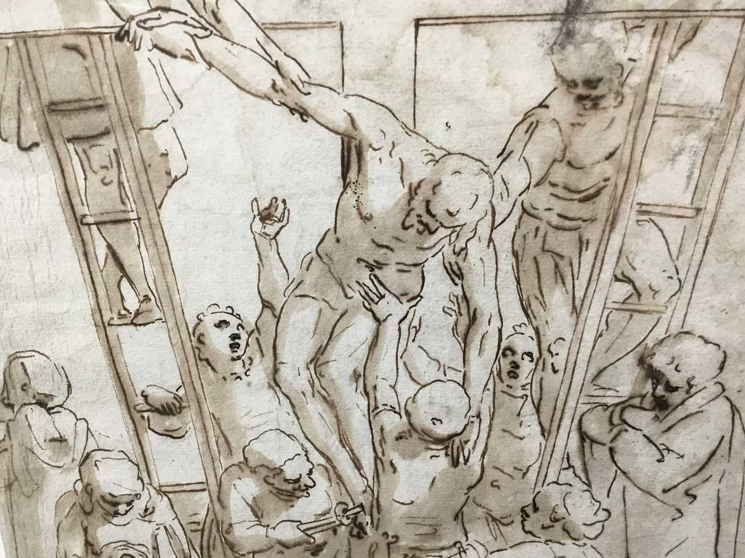 After Luca Cambiaso (1527-1585) 16th century drawing, pen and ink with wash, watermark, 'The Descent - Image 3 of 13