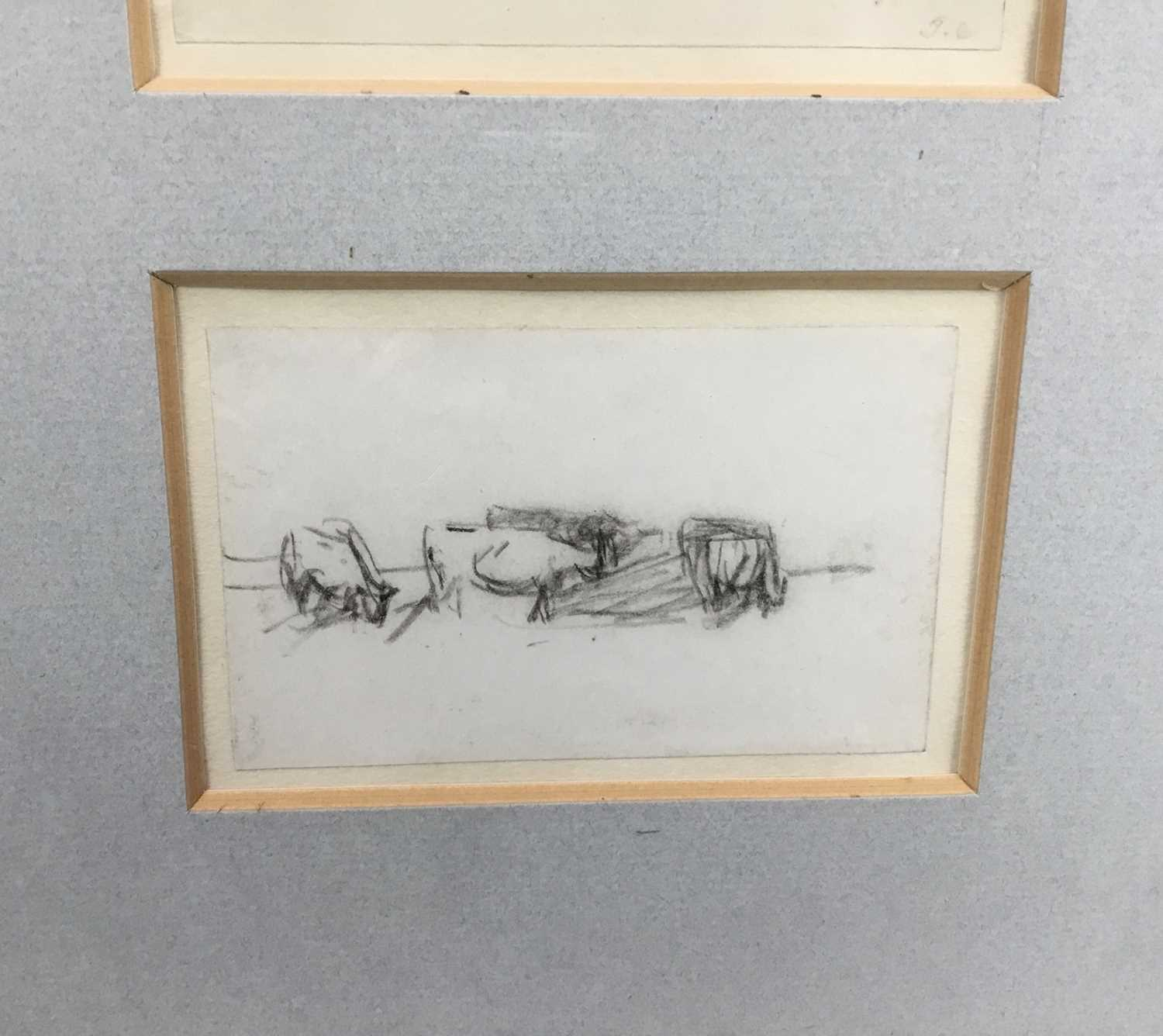 Thomas Churchyard, trio of pencil drawings of horses, framed as one - Image 3 of 9
