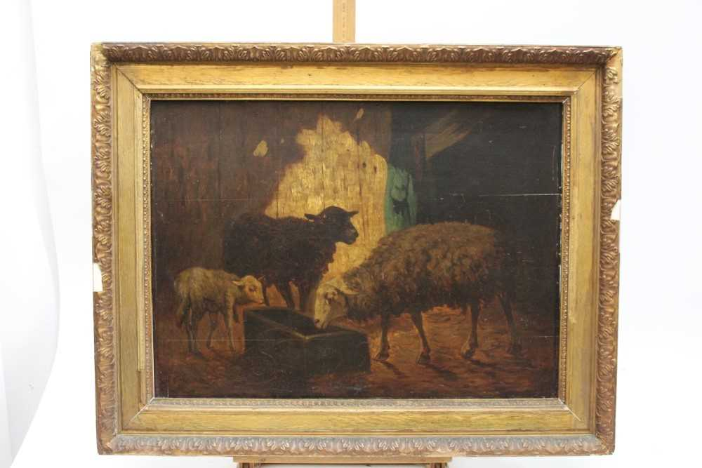 Louis Marie Dominique Robbe (1806-1887) oil on panel - sheep in a barn, signed, 41cm x 56cm, in gilt - Image 2 of 9