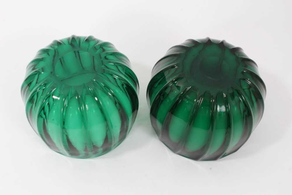 Pair of green glass finger bowls, early 19th century, of moulded round shape with polished pontil ma - Image 4 of 4